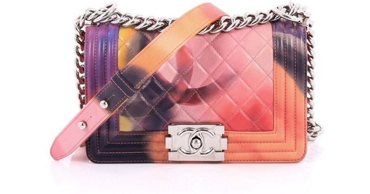 da5499aec99884 Chanel Limited Edition Flower Power Boy Flap Bag Quilted Lambskin Small -  Lyst