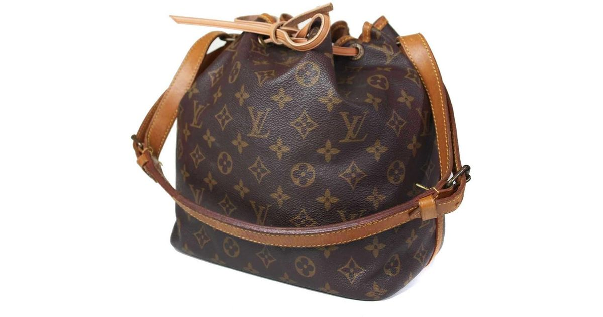 Lyst - Louis Vuitton Auth Petit Noe Monogram Canvas Leather Drawstring Shoulder  Bag in Brown 8a48dc3758ef6