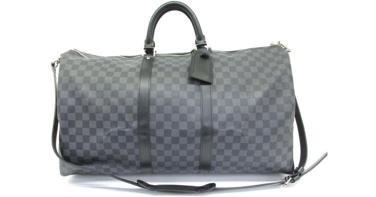 62b1159b4fc8 Lyst - Louis Vuitton Keepall Bandouliere 55 Boston Bag Damier Graphite  N41413 in Gray