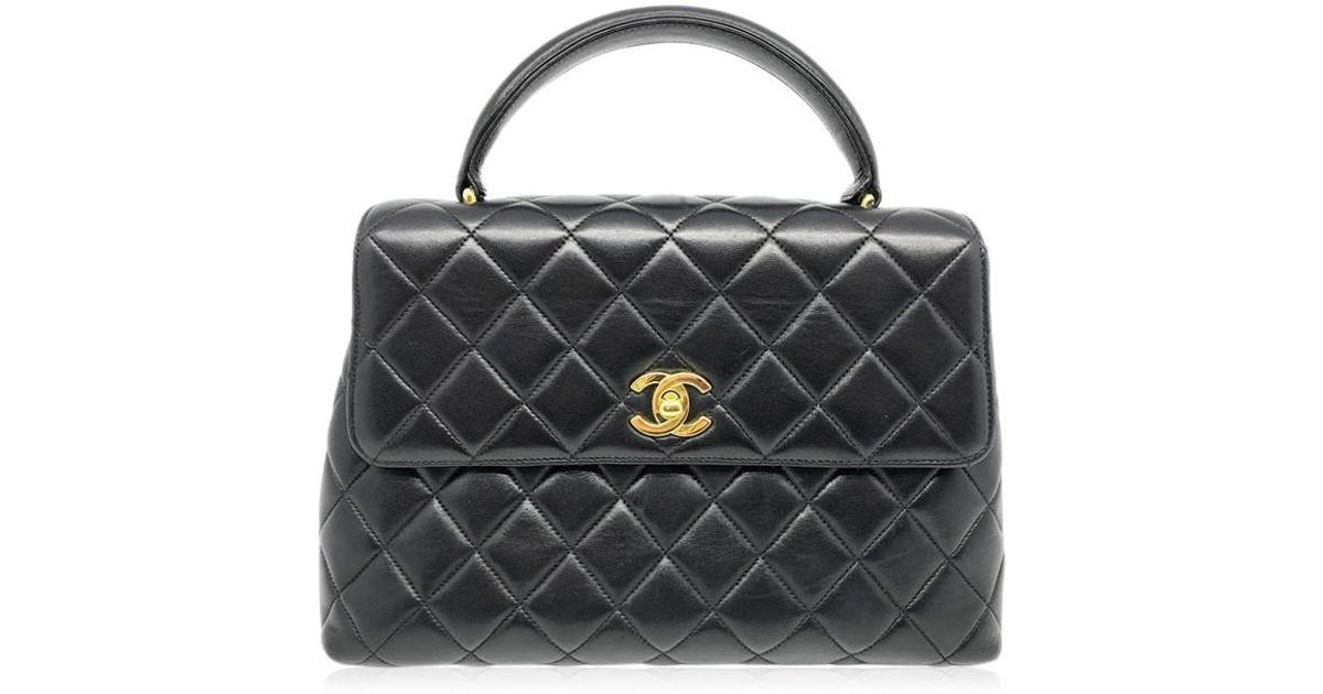 8d6b8dedd858 Lyst - Chanel Quilted Lambskin Leather Gold Metal Tote Bag Handbag Black  3585 in Black
