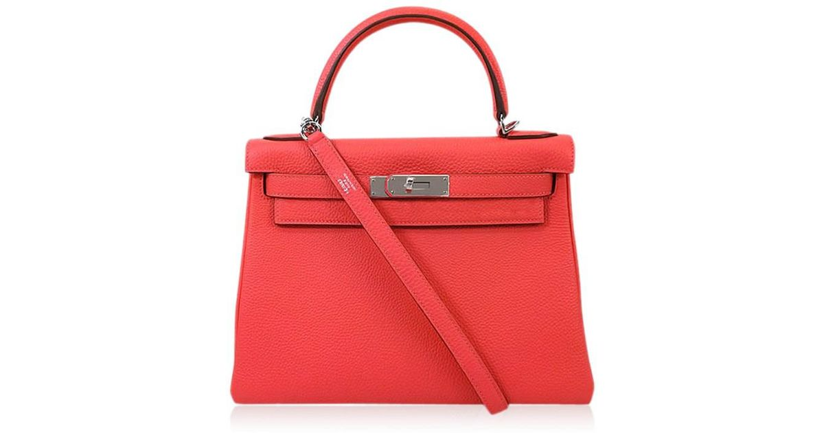 c7d5ede4fe Lyst - Hermès Handbags Kelly 28 Retourne Rose Lipstick Togo Shw never Used   authentic  in Pink