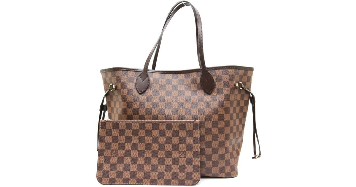 771794dc78f7 Lyst - Louis Vuitton Neverfull Mm Tote Bag Damier Ebene Canvas N41358 in  Brown