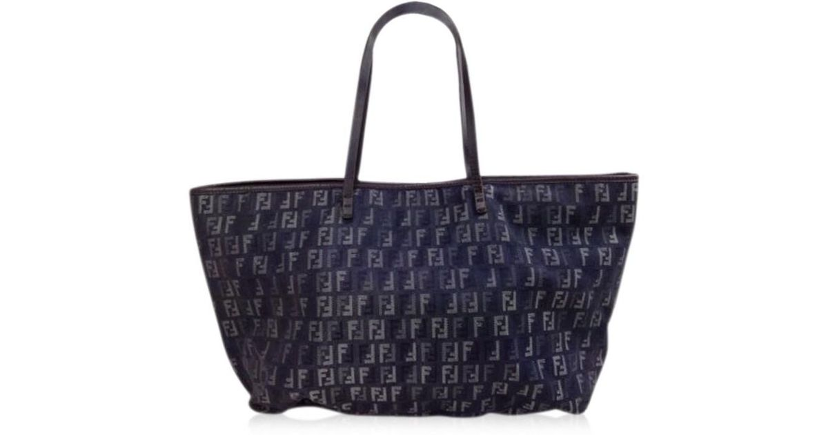 03023358ebc Lyst - Fendi Zucca Pattern Logos Tote Bag Canvas Italy Vintage 5e131330  in  Black