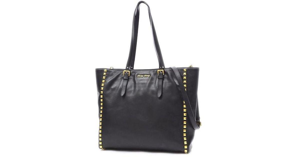 Lyst Miu Miumiu Studs 2 Waytote Bag Leather Black Gold Hardware Rr 1906 In