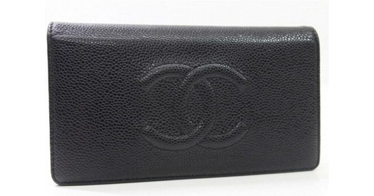 23febd906652f2 Chanel Authentic Caviar Leather Cc Bifold Wallet Black A48651 in Black -  Lyst