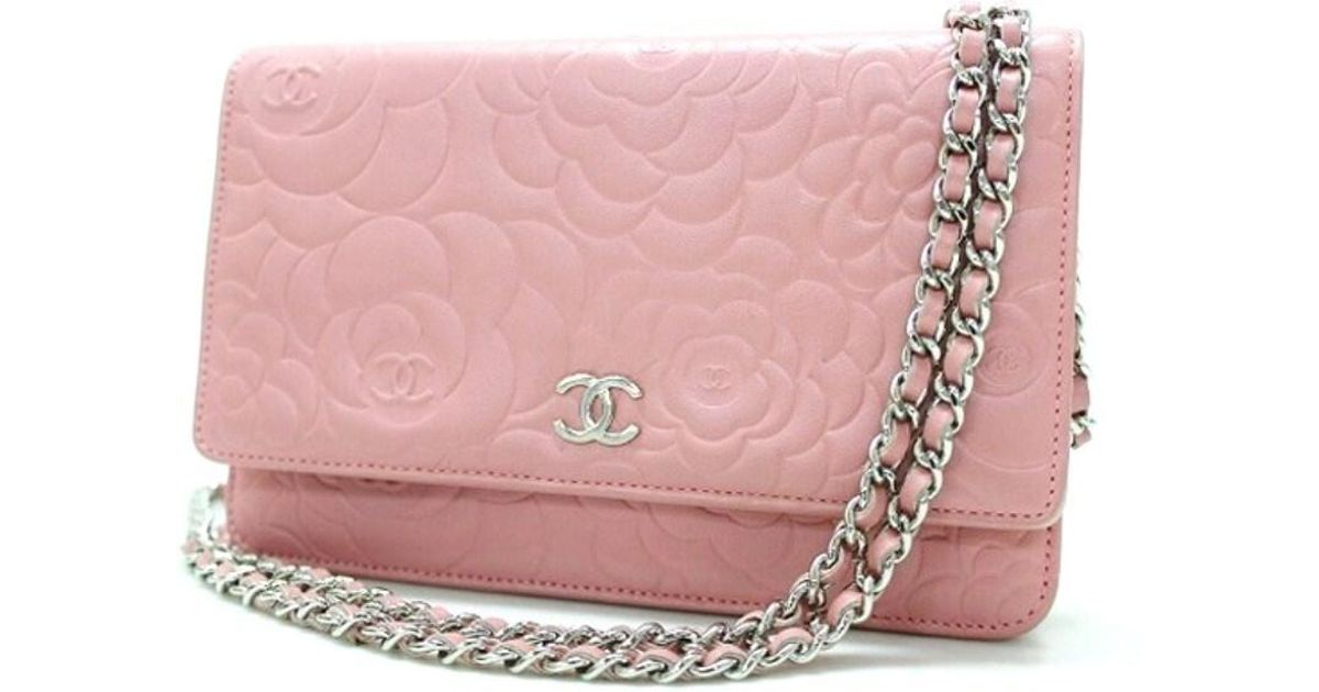 b6bfbef087bd Chanel Lambskin Camellia Embossed Chain Wallet Bag Pink A47421 in Pink -  Lyst