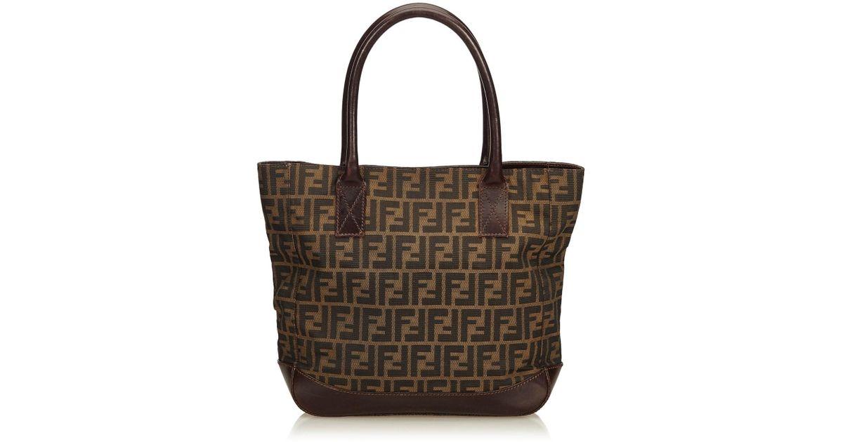 971035a1571 Lyst - Fendi Zucca Canvas Tote Bag in Natural