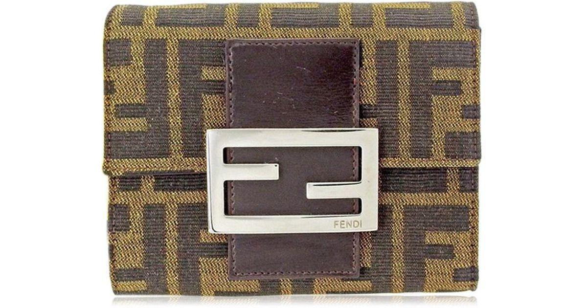 b68175c5 Fendi Black Wallet Purse Triple Fold Wallet Zucca Used S564