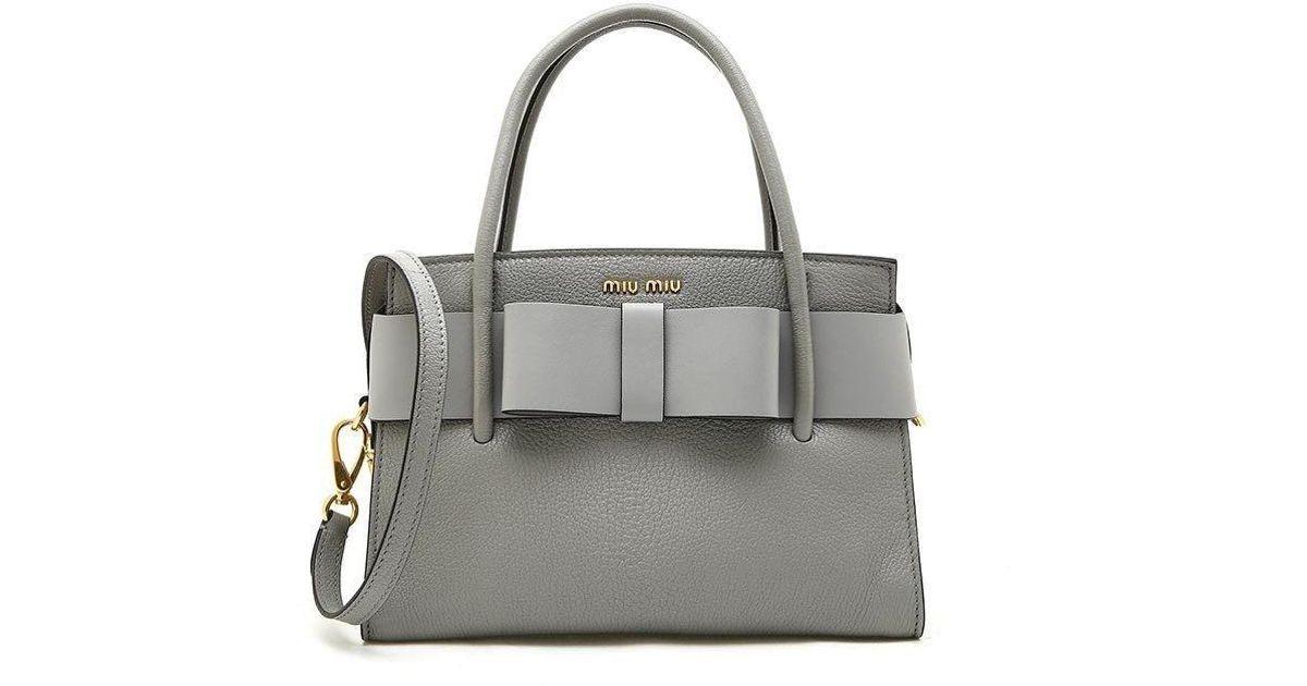 67fe86beb75f Lyst - Miu Miu Madras Bow Tote Bag in Gray