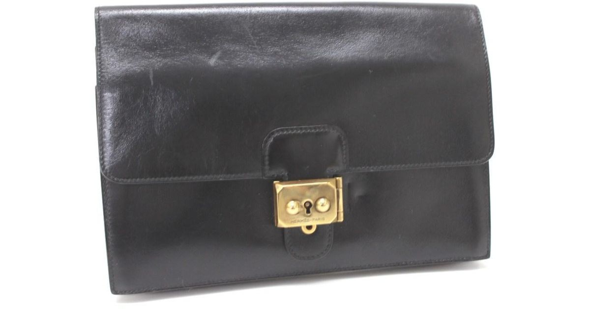 88c0f60351f5 Lyst - Hermès Pochette Jet Clutch Bag Pouch Black goldhardware Boxcalf  Leather in Black