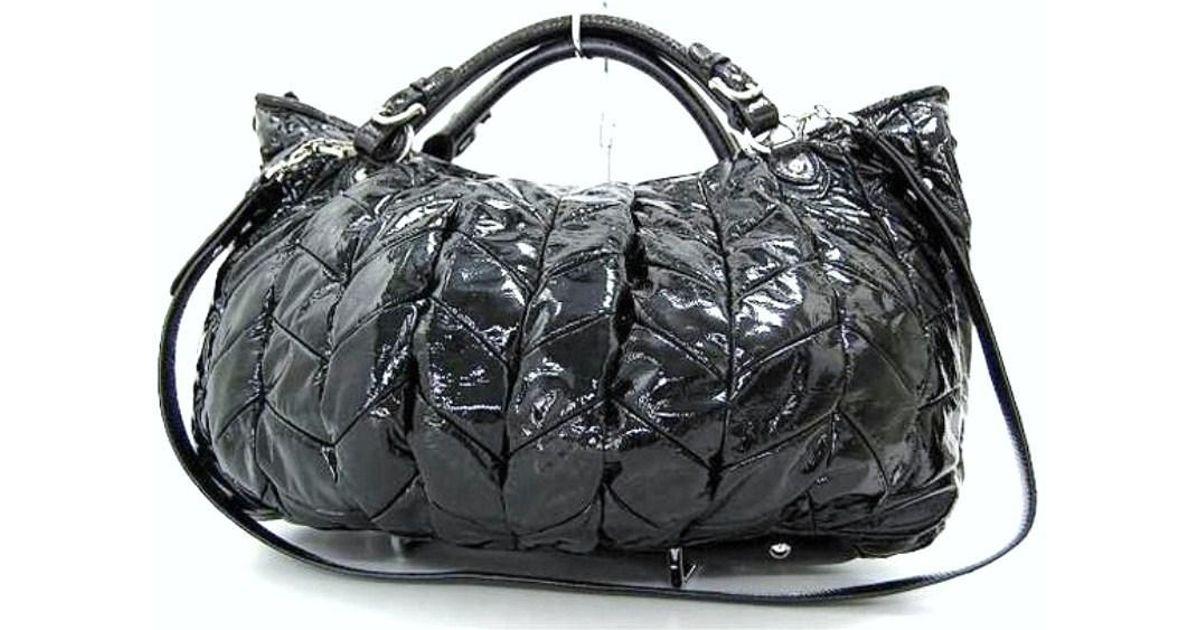 c536063ce342fc Lyst - Miu Miu Authentic Patent Leather 2 Way Shoulder Bag Black in Black