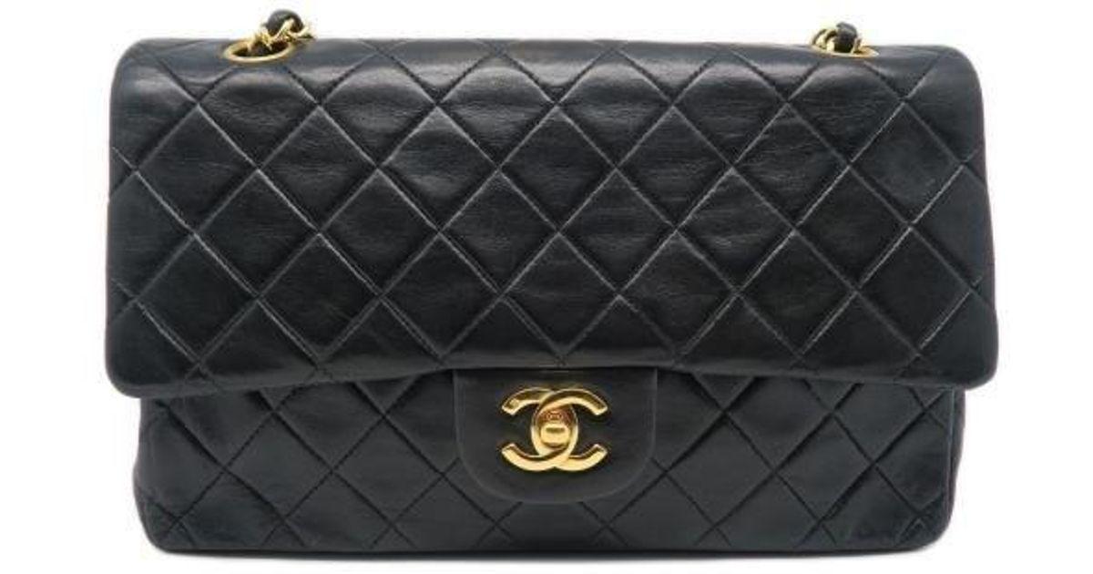f19a0f0a44f5 Lyst - Chanel Lambskin Leather Classic Flap Medium Shoulder Bag Black 7453  in Black