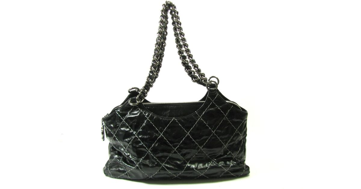 ab9d3564977d Lyst - Chanel Cc Chain Shoulder Tote Bag Leather Black Used Vintage in Black