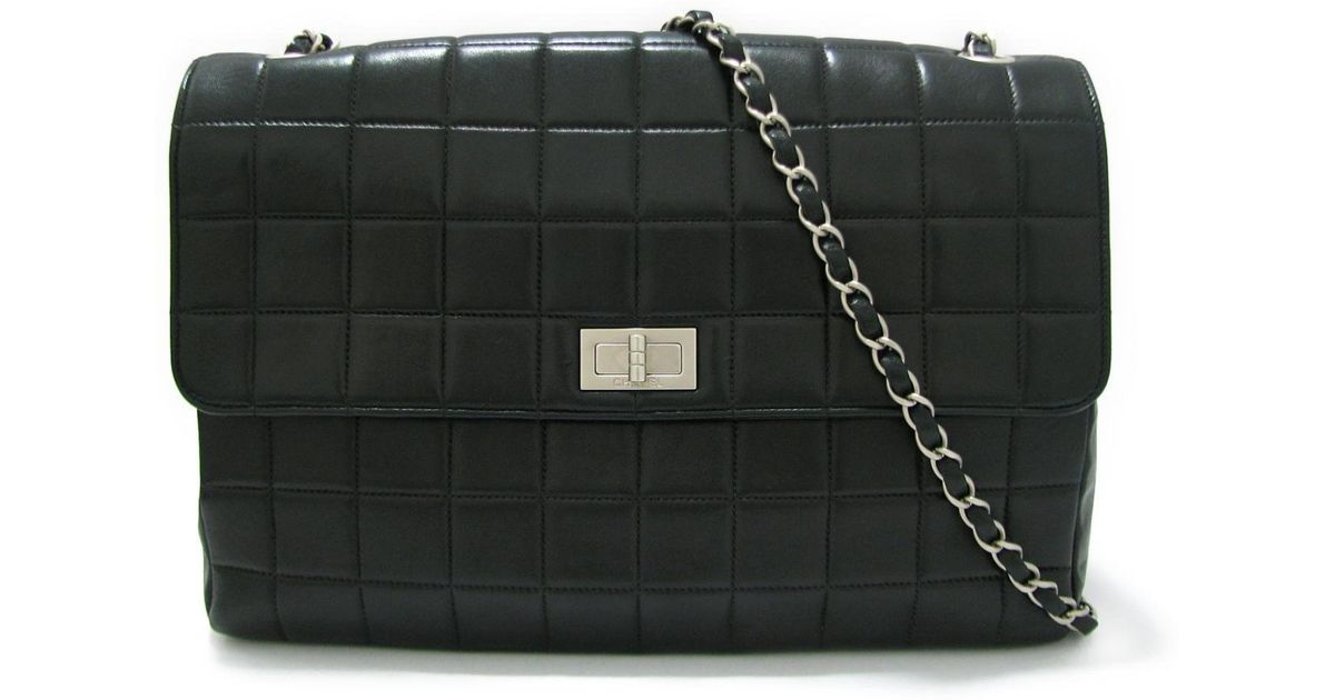 b3c9fb602838 Lyst - Chanel 2.55 Chocolate Bar Chain Shoulder Bag Lambskin Leather Black  in Black