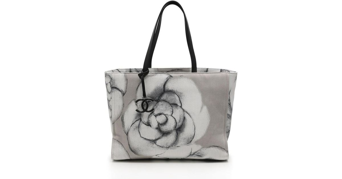 71202c8b4c3285 Chanel Camellia Print Large Shopping Tote Tote Bag Canvas Leather White  Gray Black - Lyst