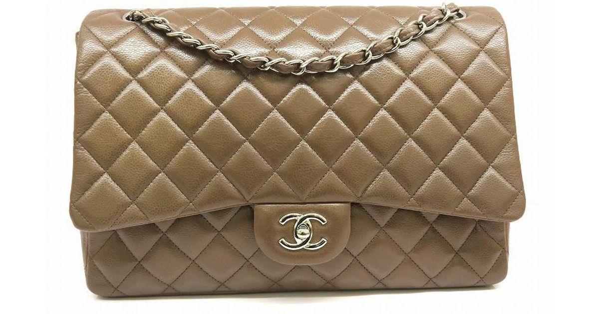 720b614f2ba3 Chanel Matelasse Jumbo Classic Flap Crossbody Bag Quilting Calfskin Brown  in Brown - Lyst