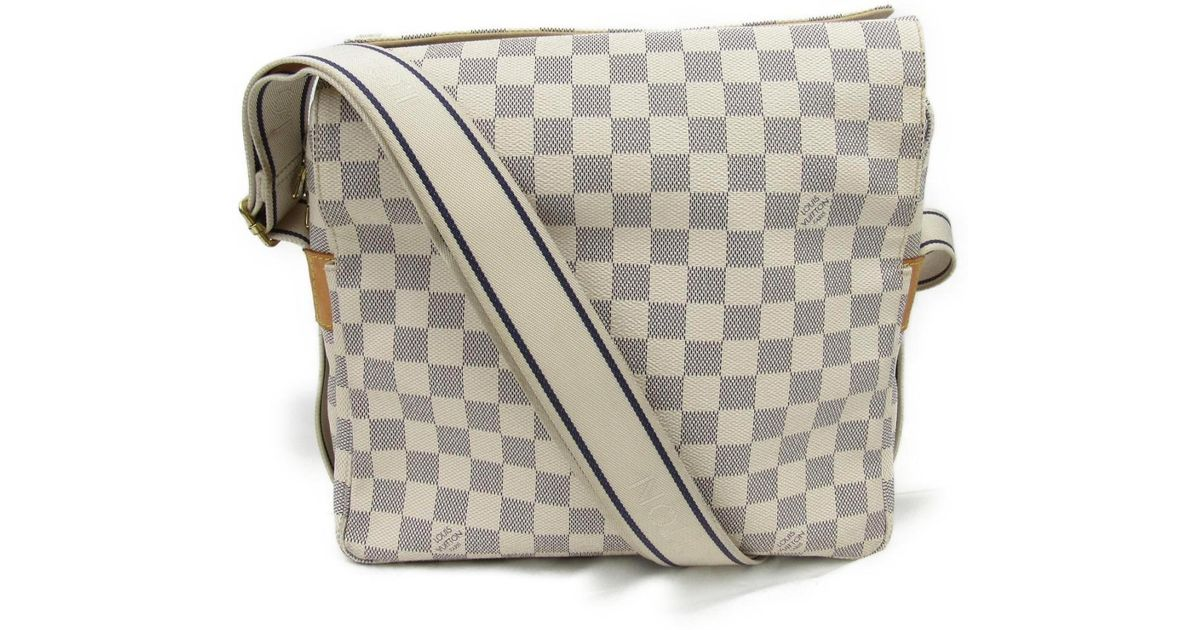 67b8fb48ac5b Lyst - Louis Vuitton Auth Naviglio Shoulder Messenger Bag N51189 Damier Azur  Used in White for Men