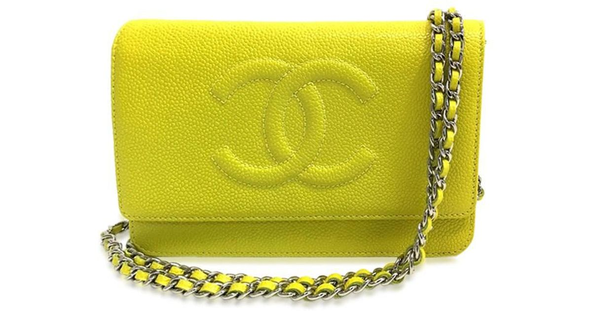 4204230c7daf Lyst Chanel Un Cc Mark Wallet Bag Chain Shoulder. Chanel Pearl Caviar Leather  Wallet On Chain Woc Bag Yellow 2018