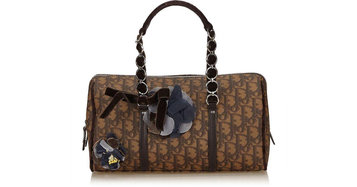 1c8b8fc1238a Lyst - Dior Oblique Romantique Handbag in Brown