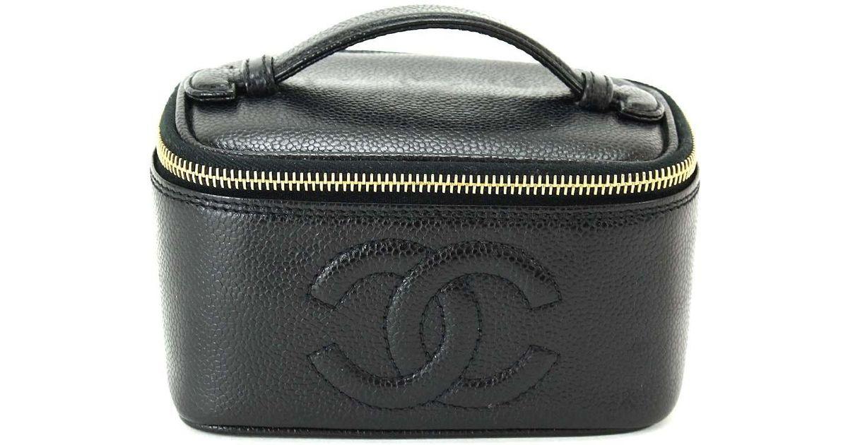 969c22f50df1 Lyst - Chanel Vanity Bag Mini Caviarskin Leather Black Cc A07938 90044040..  in Black