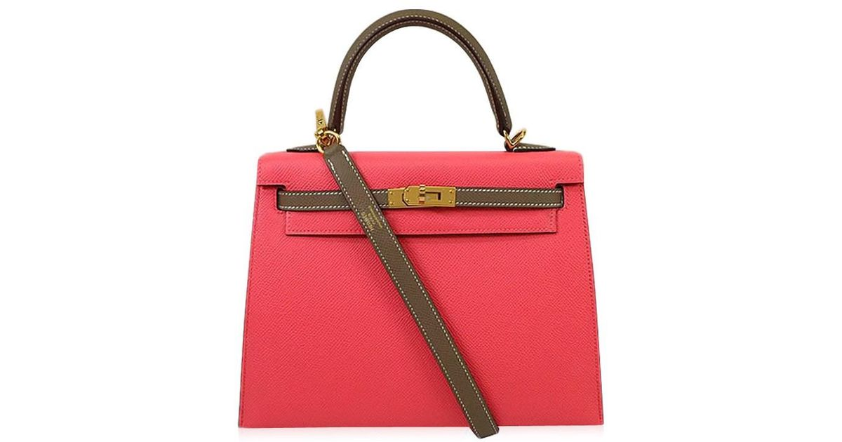 418236a11461 Hermès Handbag Kelly 25 Sellier Personal Order Rose Azalee/etoupe Epsom Ghw [exhibition][authentic] in Pink - Lyst