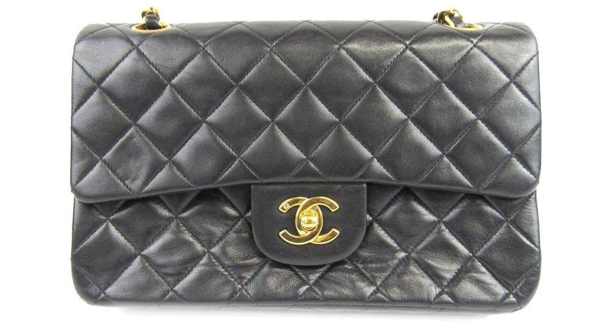 ec218fa38ad2 Chanel Matelasse W Flap Chain Shoulder Bag Lambskin Leather Black Used  Vintage in Black - Lyst