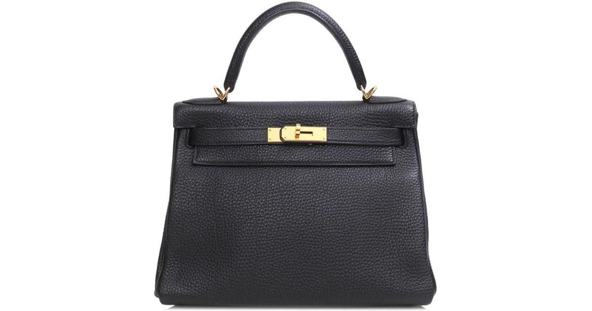 910106a136ce Lyst - Hermès Kelly28 Handbag Shoulderbag Inner Sewing Black Togo Leather  in Black