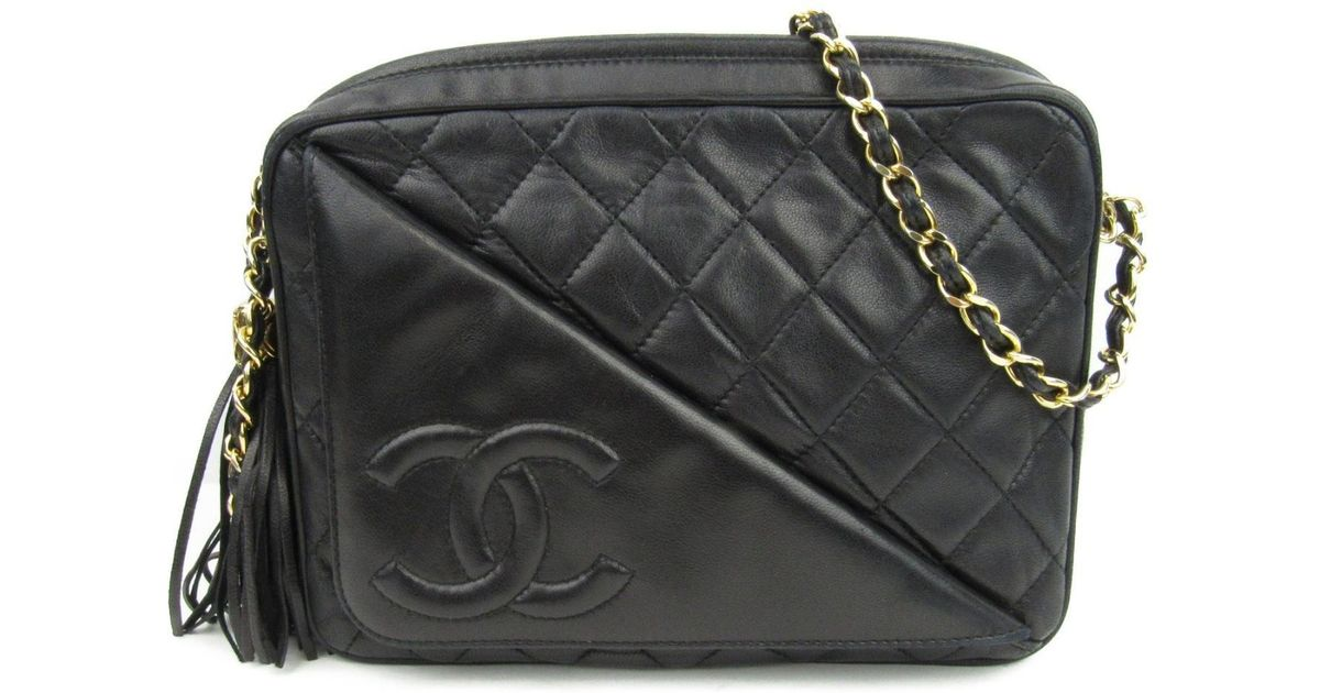 82bae35380f0c5 Lyst - Chanel Authentic Lambskin Leather Chain Shoulder Bag Lambskin  Leather Black Used in Black