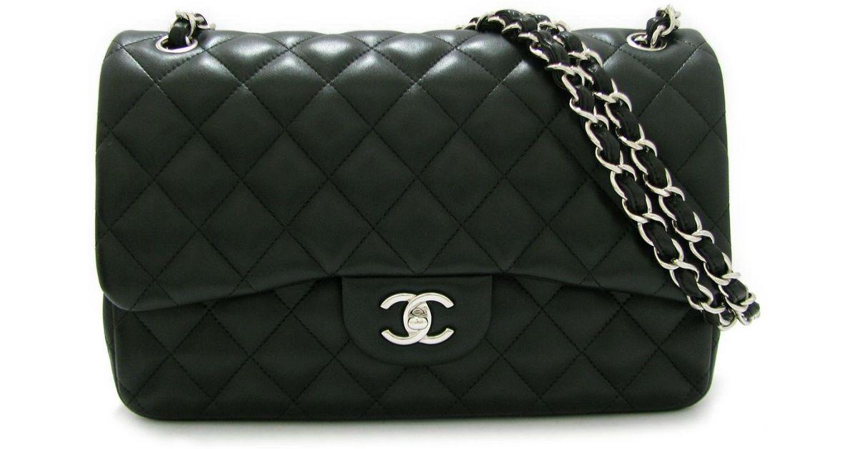 83f9d4f2915 Lyst - Chanel Matelasse W Flap Chain Shoulder Bag 30 A58600 Lambskin  Leather Black in Black