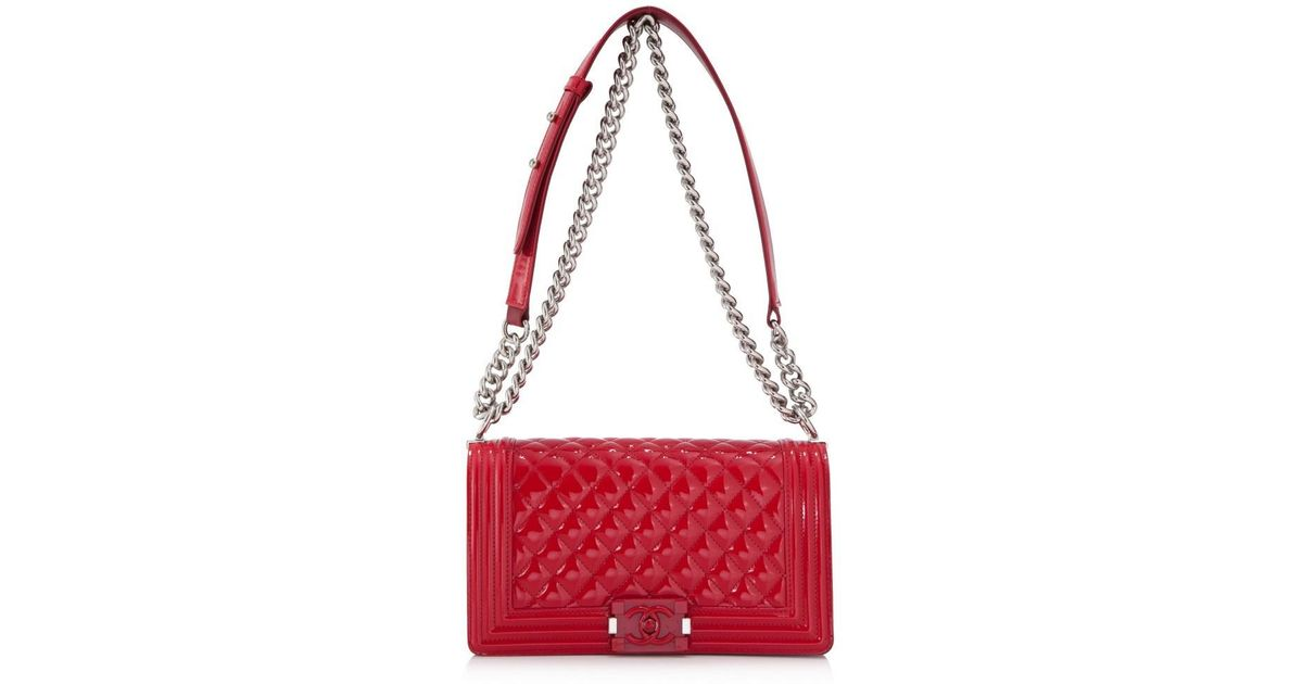 e086d1630b Lyst - Chanel Pre-owned Medium Boy Flap Bag in Red
