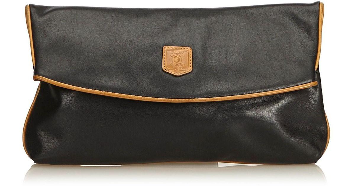 Lyst - Céline Leather Clutch Bag in Natural a9d0fd82abbc8