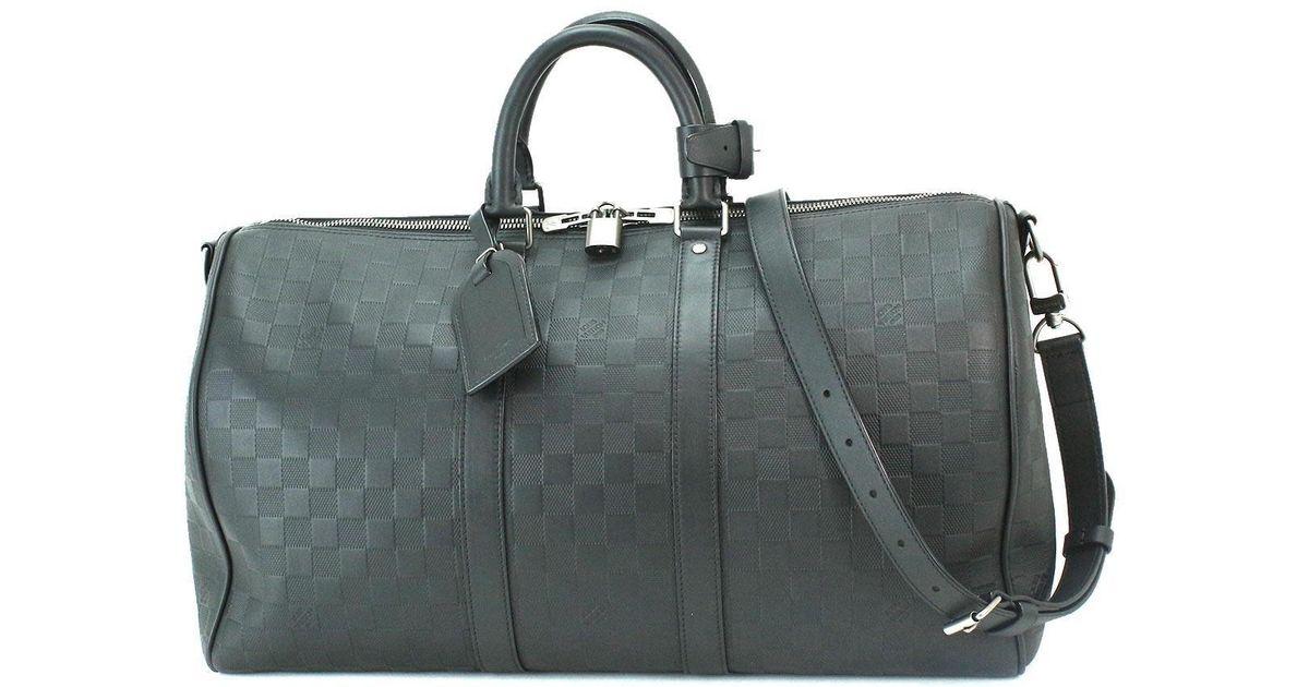 47dbf7de1946 Lyst - Louis Vuitton Damier Infini Keepall 45 Bandouliere Luggage N41145  90040181.. in Black