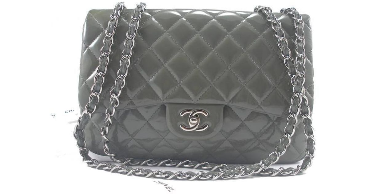 5d49ef044534 Chanel Classic Jumbo Bag Patent Leather in Gray - Lyst