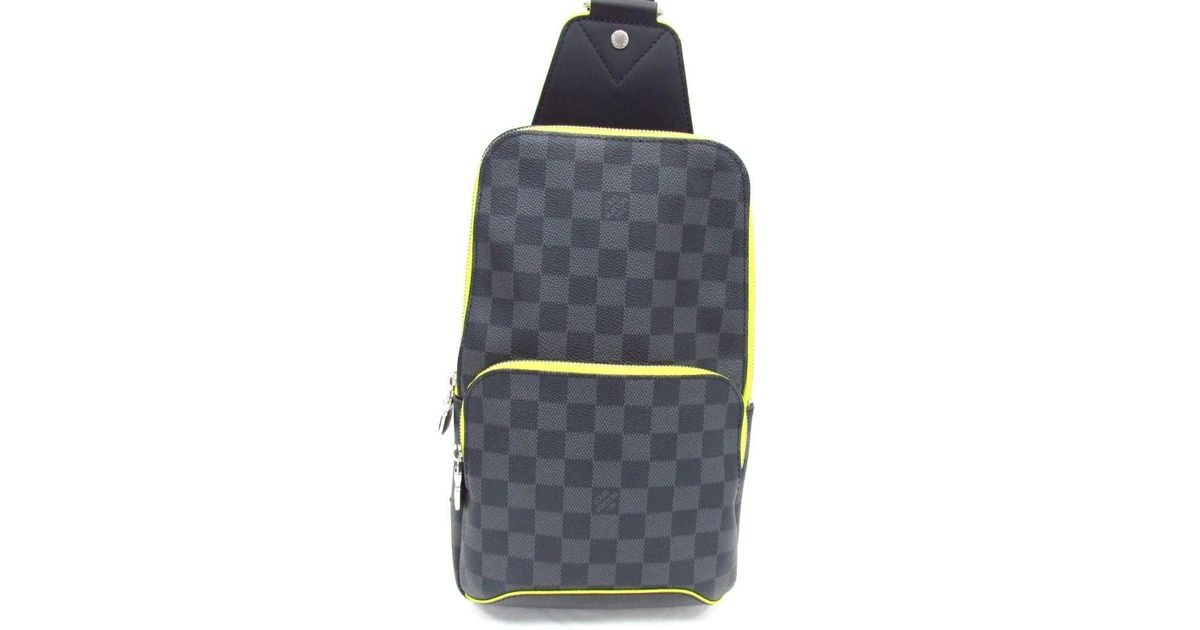 262bb0dbf20 Lyst - Louis Vuitton Avenue Sling Body Bag N42424 Damier Graphite leather  Gray Jaune in Gray for Men