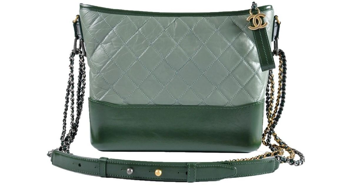 d7eb20cb1f8220 Chanel Gabrielle (medium) Hobo Bag In Green in Metallic - Lyst