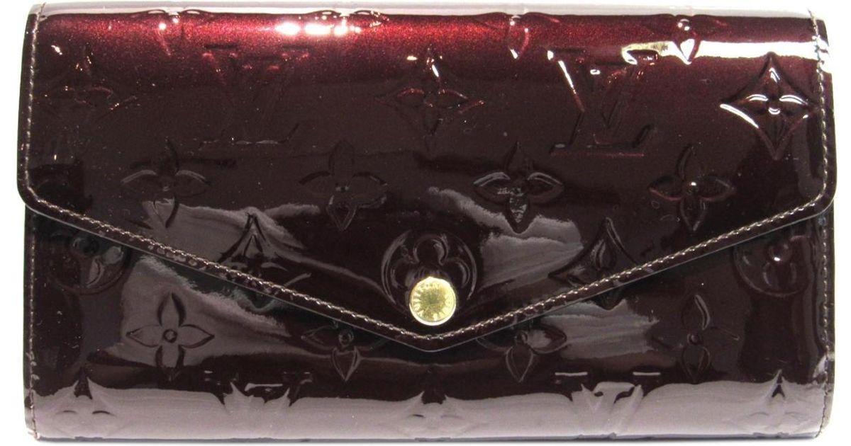 3548eaf0c0e9 Lyst - Louis Vuitton Portefeuille Sarah Long Bifold Wallet Purse Monogram  Vernis M90152 in Purple