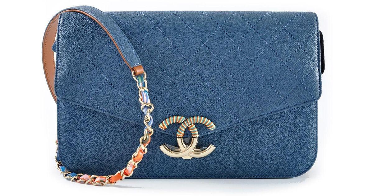 aeecc2286a3f Chanel A93663y61153 Large Calf Seasonal Flap In Dark Blue With Multicolor  Strap in Blue - Lyst