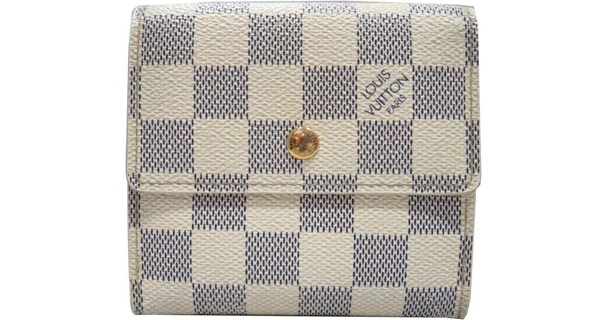 3d2e89b9893 Lyst - Louis Vuitton Portefeuille Elise Trifold Wallet Purse Damier Azur  N61733 in White