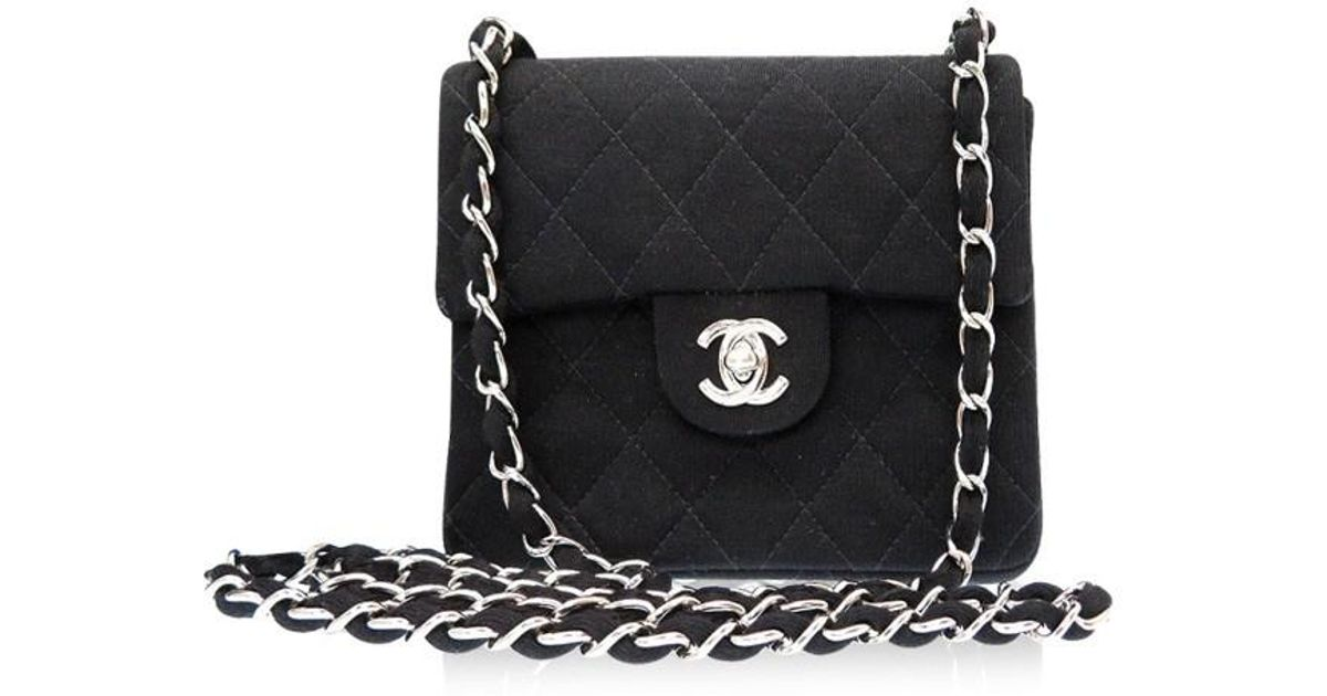 37e196da751 Lyst - Chanel Diagonal Hanging Mini Matelasseshoulder Bag Black Jersey 0396  in Black