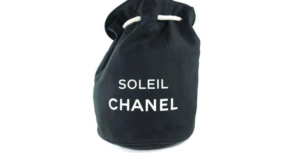 Lyst - Chanel Soleil Black Cotton Canvas Drawstring Backpack Bag in Black 733c7868deed