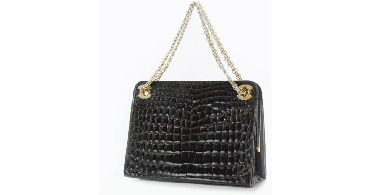 704f298e58c2 Lyst - Chanel Crocodile Black/gold Shoulder Bag Women in Black