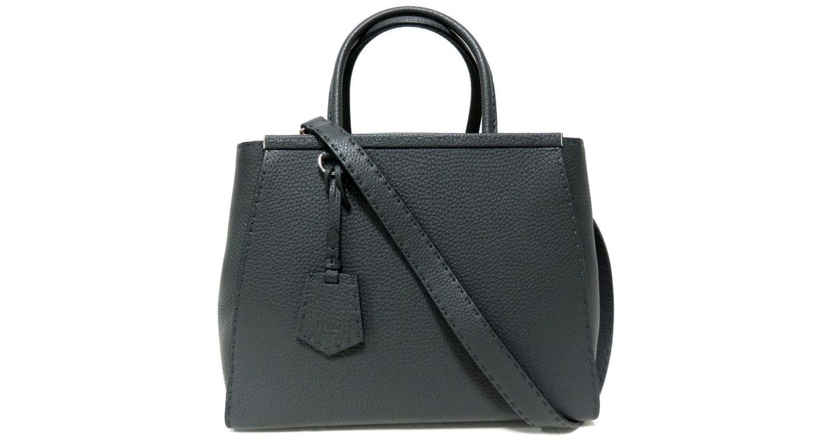 44423b72620a Lyst - Fendi 2 Jours Shoulder Hand Bag Calf Skin Leather Grey Used Vintage  in Gray