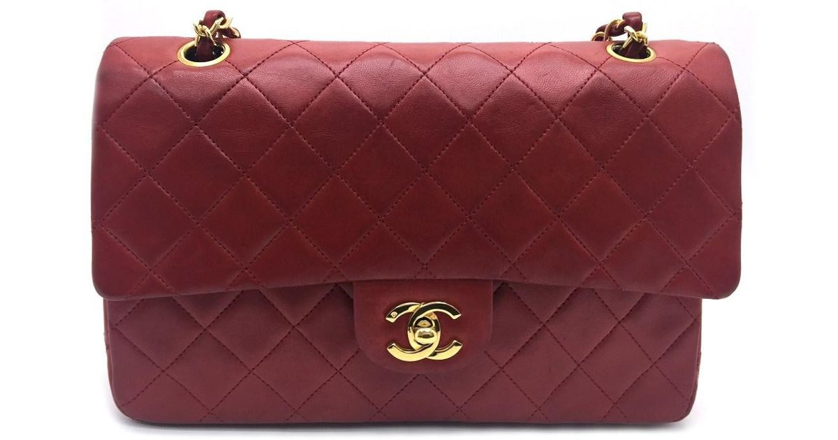 efc948538147 Chanel Matelasse Chain Shoulder Bag Quilted Lambskin Leather Red 1504 in Red  - Lyst