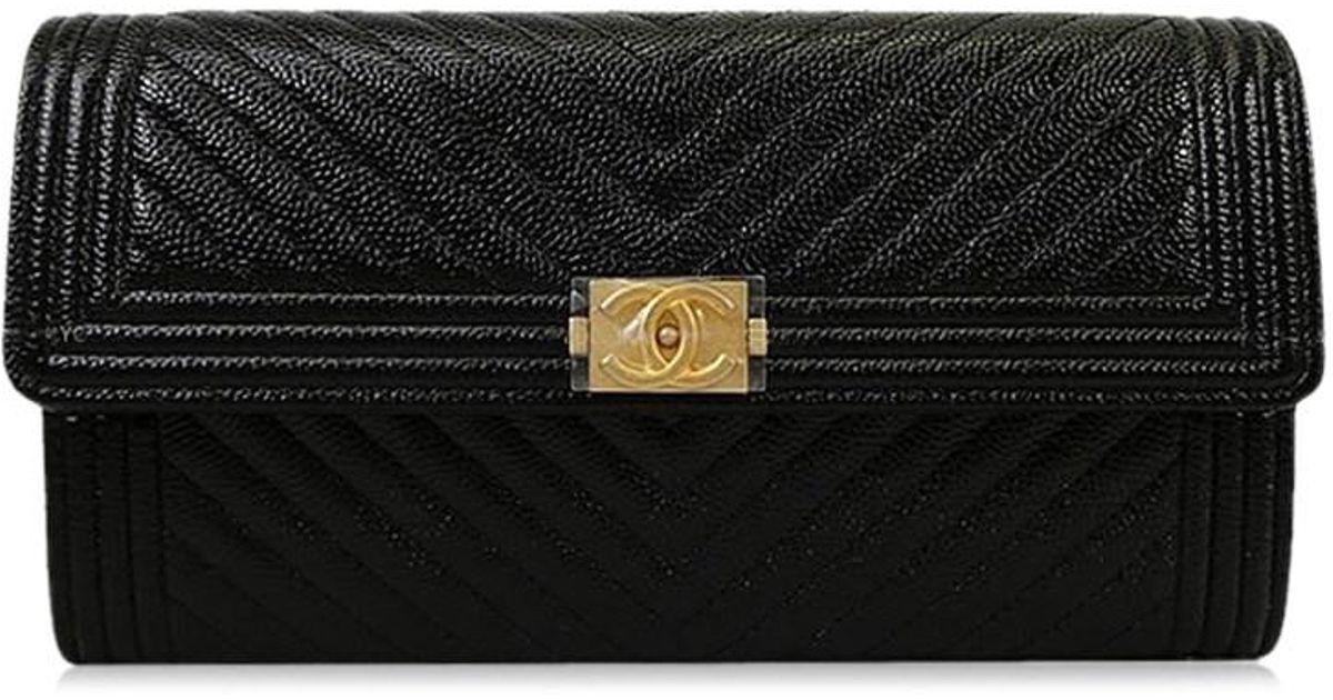 Lyst - Chanel Boy Chevron Flap Long Wallet Black Grained Calf A80286 brand  New  authentic  in Black b90302613e7