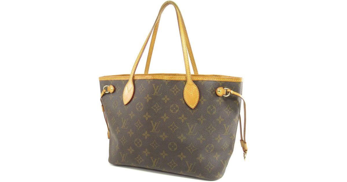 Lyst Louis Vuitton Monogram Canvas Tote Bag M40155 Neverfull Pm In Brown