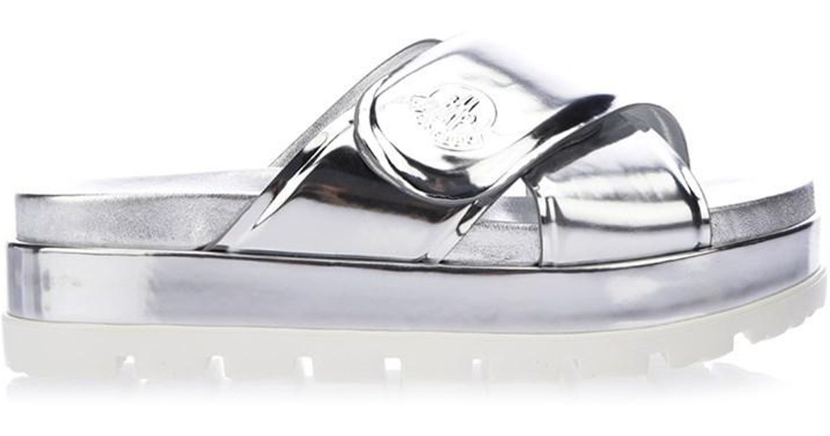 cf63611eb8c Lyst - Moncler Camelia Slide Sandals Silver in Metallic