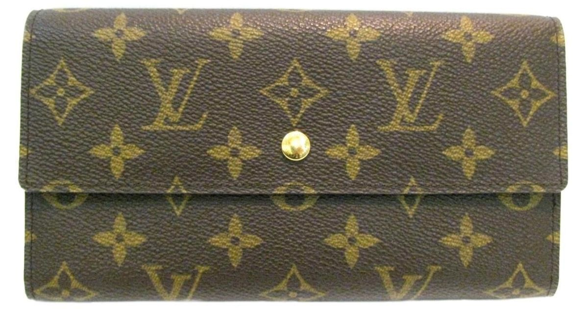 529be562fae2 Lyst - Louis Vuitton Portefeuille International Long Trifold Wallet  Monogram Bn M61215 in Brown