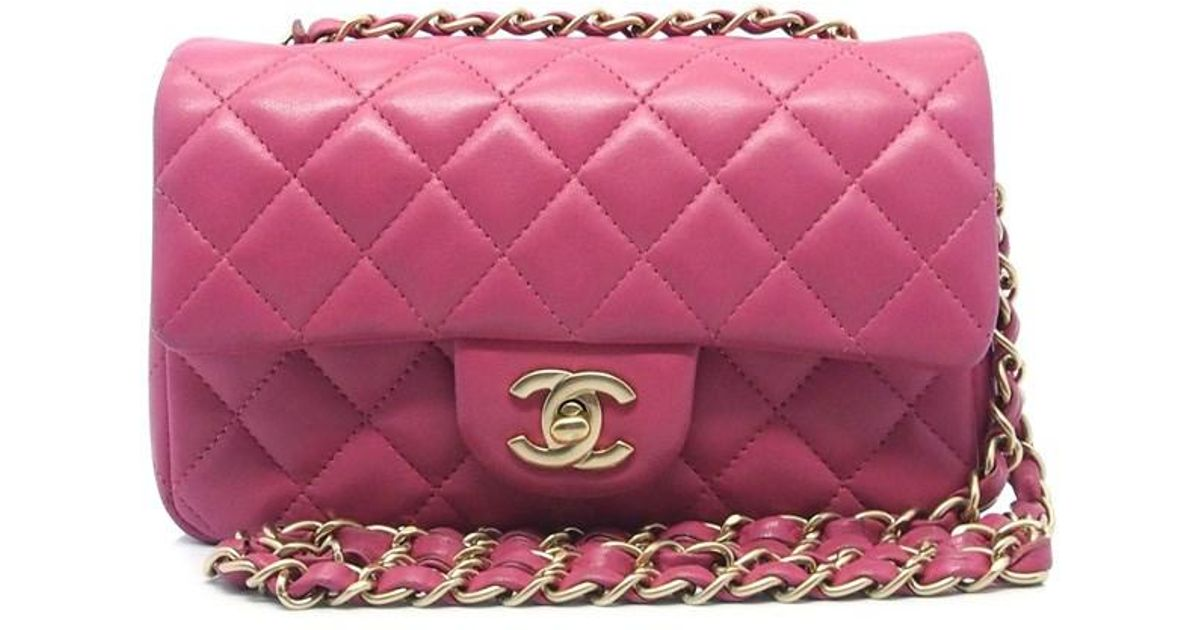 Lyst Chanel Authentic Hot Pink Quilted Lambskin Cc Chain Mini Shoulder Bag 18006259ck In