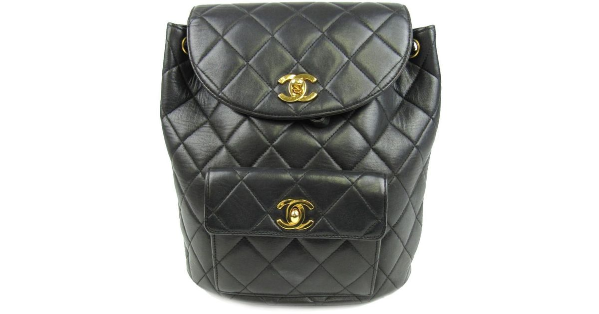 8ed589a66aeb Chanel Matelasse Chain Backpack Cc Black Lambskin Leather Quilted in Black  - Lyst