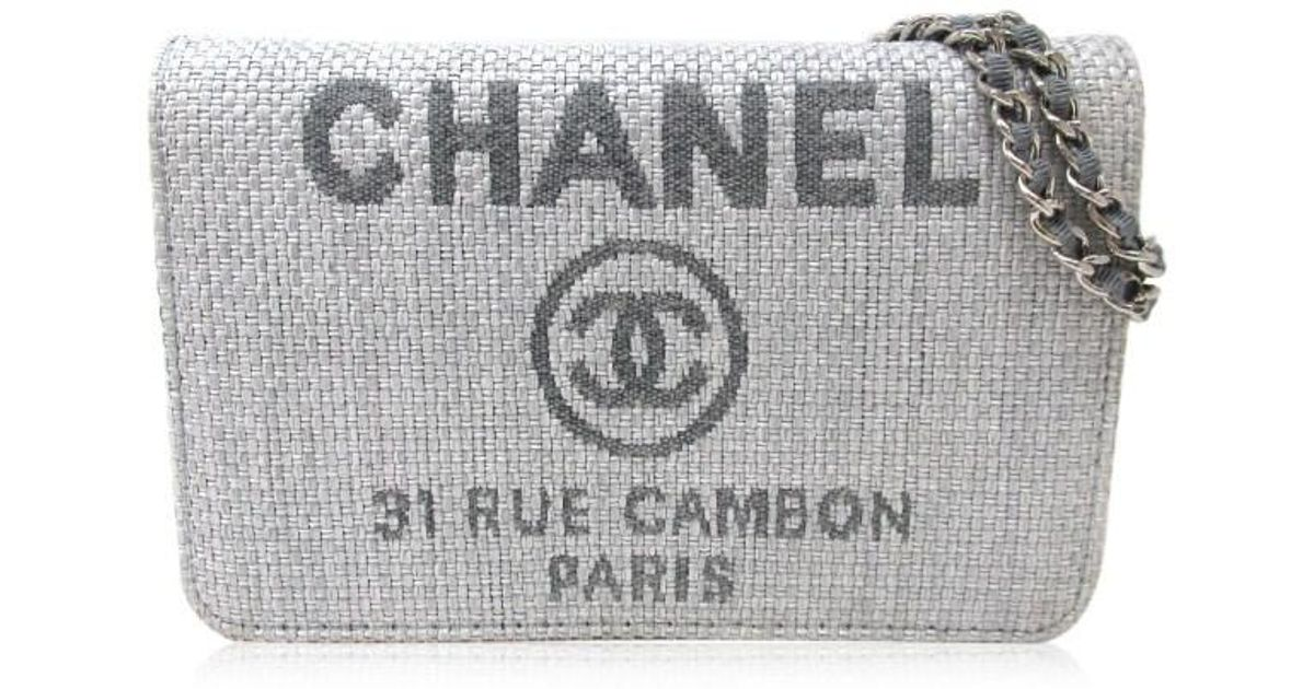 789d963552c5 Chanel Straw Deauville Logo Canvas Cc Clutch Bag Gray Straw in Gray - Lyst